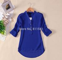 HOT 2014 women spring summer V-neck chiffon elegant all-match solid botton casual spirals shirt blouse shirt blouse  blue black