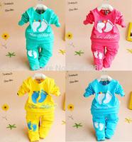 SH Retail 2014 cotton Toddlers children baby boy's girl's autumn spring 2pcs clothing set suit Pattern baby shirt + pants sets