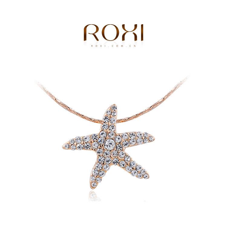 ROXI Fashion Christmas Gift Austrian Crystal Cute Small Starfish Pendant Rose Gold /Platinum plating Fashion Necklaces for Women(China (Mainland))