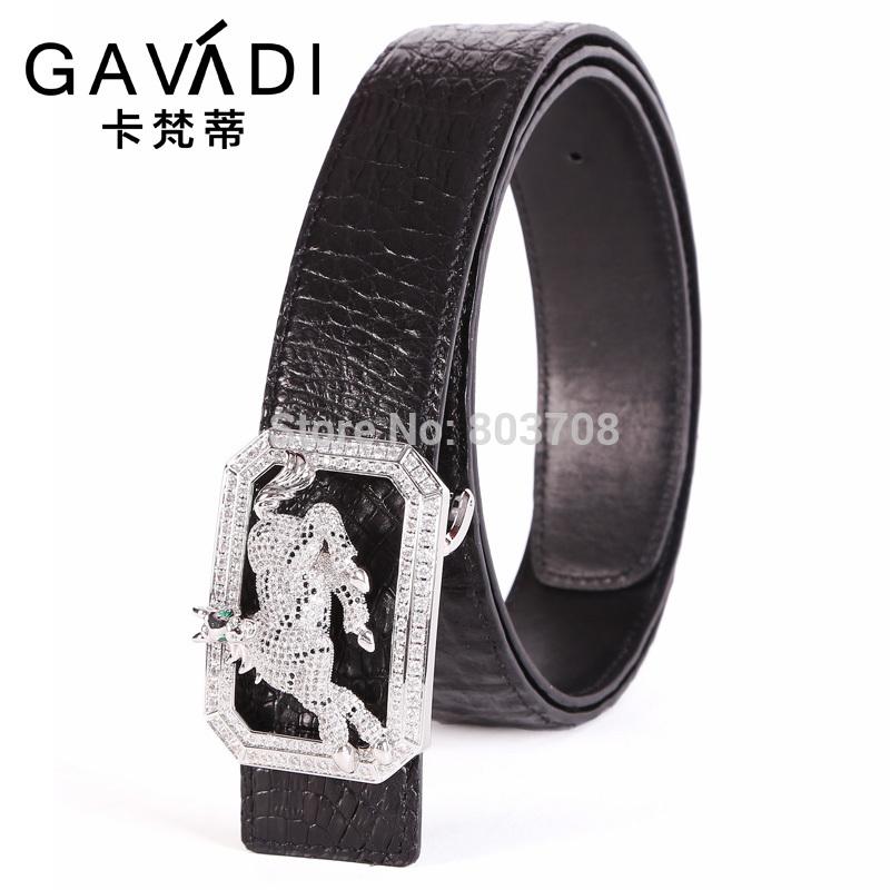 Free shipping 2014 men's genuine crocodile leather belt buckle smooth horse style belt(China (Mainland))
