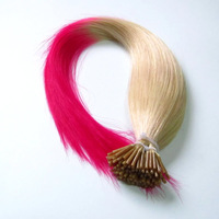 """20"""" Ombre Two Toned 60TPink Remy Stick Tip Human Hair Extensions,Virgin I-tip Hair Extensions,1g/pcs 100pcs,Free Shipping"""