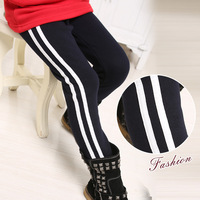 plus velvet thickening Children's sports pants 2014 winter girls stripe trousers child legging
