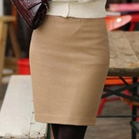 2014 New Women Fashion Formal Skirt office lady A-line women clothing wholesale solid color cashmere medium skirt step slim hip