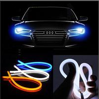 New 10W 60cm Flexible Double Color Turn Signal Car Daytime Running Light Waterproof COB LED Car DRL Driving Lamp (2PCS/lot)