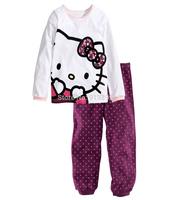 2014 Baby hello kitty  Pajamas Kids Pyjamas Baby Boys girls 100% cotton Sleepwear Children Wear baby clothing 6set/lot