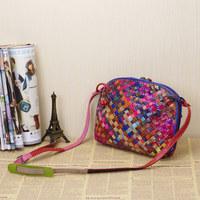 2014 fashion multicolour Knitted Sheepskin Real Leather Genuine leather Women Messenger bags bolsas femininas