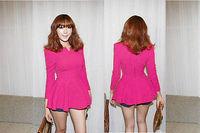 2014 Hot sale fashion women shirt slim Casual long-sleeved v neckline solid colors t-shirt render unlined upper garment