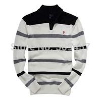 Latest Style Man's Half Zipper Pullovers Coat Leisure Fashionable Man Long Sleeve Stripe Sweater Coat