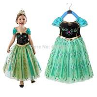 2014 Hot Kids Baby Girls Princess Frozen Dress Elsa & Anna Summer Dress Cartoon Beautiful Dress Party Costume