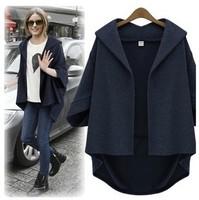 Women coats Autumn and winter fashion 2014 Loose Dovetail Bat sleeve Cardigan Pure Big yards Jacket