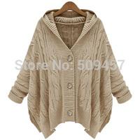New Women's Trendy Zipper Batwing Sleeve Casual Hooded Sweater Coat Jumper Knitwear Outerwear Tops 2 Colors