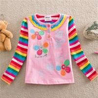 NEAT new 2014 baby girls t shirt children T-shirts flower cartoon long sleeve lace clothing kids wear 1-6Y NOVA sister brand