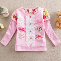 2014 spring girls Peppa pig children t-shirts flower baby girls long sleeve t shirt children clothing kids tops girls clothing