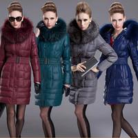 D1214 Wintering Female Thick Parkas Jacket Slim Women White Duck Down Overcoat Plus Big Large Size Raccoon Zipper Belt Hooded