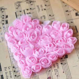 Free Shipping Heart Shape 3D rose Chiffon Flower Fabric Craft Sewing Mesh Trim shabby Chiffon Flowers Patch,Lace Patch10pcs/lot(China (Mainland))