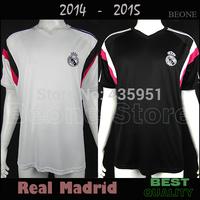TOP Thailand A+++ 2015 Real Madrid 14 15 white / black Training shirt soccer jerseys camisetas de futbol /Can Customize
