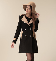 2014 winter Autumn clothes new European and American women's woolen coat long sections Slim woolen coat female Double Breasted