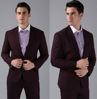 2014-Free shoping Slim Formal Custom made dark red high wool  Suits Business suit (Jackets+Pants)