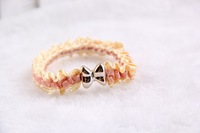 Korean version of the rubber band bow organza lace flower head hair rope hair ring