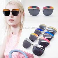 Square Half 2014 Limited Mirror Coating Rimless Cool Metal Women Sun Glasses, Fashion Star Italy Brand Hot Selling Sun Eyewear