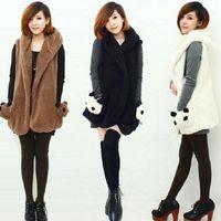 Casual Women Cute Stylish Cartoon Panda Pattern Velvet Vest Pockets Jackets Colete Feminino Coat#64999