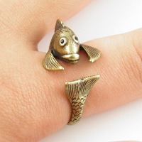 Free Shipping Hot Sale Ring Bronze Fish Animal Wrap Ring Statement Rings For Woman Newest Fashion Rings