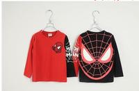 Spring autumn children's clothing wholesale Spider man children long sleeve T-shirt Pure cotton leisure kids t shirt 5pcs/lot