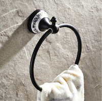 Free Shipping Wholesale and Retail Wall Mount Oil Rubbed Bronze Brass Towel Holder Ring Ceramic Style Towel Rack