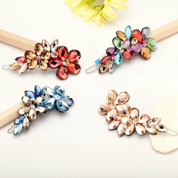 2014 new hair clips bridal hair accessory hairpins crystal rhinestone hair accessories four color flower barrettes(China (Mainland))