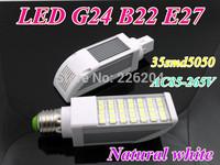 Wholesale By DHL led bulb 12W 35led 5050 chip AC85-265V led PL Light B22 G24 E27 LED Bulbs natual white 2years warranty