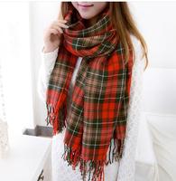 New Women Wool Tassels Plaid Checks Warm Winter Long Soft Scarf Shawl Wrap S06