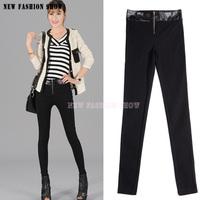 Fashion 2014 New Bodycon Stretch Women's High Waist Pants Women Autumn Winter Full Length Slim Pencil Black Casual Pant 2039
