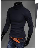 Casual Winter Men Turtleneck Warm Mens Sweater Solid Design Pullover For Men