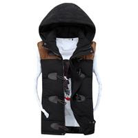 2014 Winter New Casual Vest Men Good Quality Detachable Cap Waistcoat Men Spring Autumn Couples Sleeveless Jacket Size S to 3XL