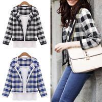 Woman Classic Round Neck Cotton Grid Short Spring Autumn Outwear Coat with Vest # 65522
