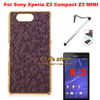 Slim Aluminum Hard Cover Mobile Phone Case Back Cover +Screen protector  + Pen  for Sony Xperia Z3 Compact Xperia Z3 mini/M55W