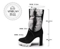 2014 medium-leg sheepskin high-heeled boots female rabbit fur thick heel boots