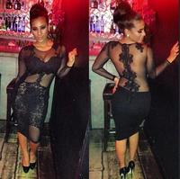 Free Shipping Wholesale Black Colour Ladies Club Night Dress Long Sleeve Lace Mini Dress Hot Sale Dropshipping