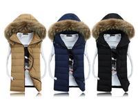 Free shipping 2014 winter new fashion casual cotton slim hood fur collar lovers colete masculino sleeveless jacket down vest men