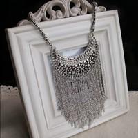Fashion Ethnic Tibetan Silver Moon Pendant Tassel Long Necklaces Ladies Vintage Metal Jewelry