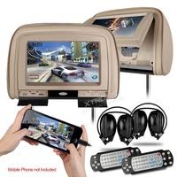 "XTRONS Beige 2x9"" Digital Screen Car Monitor Headrest DVD Player with 2 IR Headphones 8 Bits & 32 Bits Games"