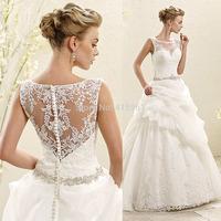 Vestido De Casamento 2015 Latest Design White Ball Gown Lace Wedding Bridal Dresses Tank Belt Beads Custom Made W3626