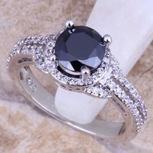 Enjoyable Black Sapphire White Topaz 925 Sterling Silver Ring For Women Size 5 / 6 / 7 / 8 / 9 / 10 Free Gift Bag S0442