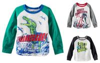 2014 Cotton long full sleeve children t shirts,cute cartoon,Fashion boys girls figure kids wear Dinosaur pattern free shipping n