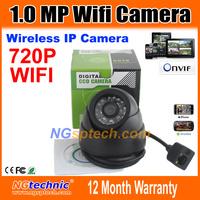 720P Megapixel WIFI Wireless IP Camera Black Indoor Dome 1280x720 HD 24pcs IR LEDS ONVIF IR-Cut Night vision free shipping