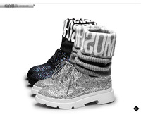 2014 sambong fashion paillette boots casual yarn tube elastic boots