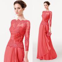Elegant Long Lace Red Evening Dresses 2015 Long Sleeve Prom Gowns Flowers Bateau Tassel Vestido de Fiesta Longo E6167