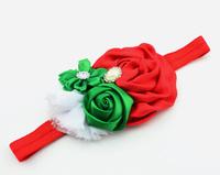 Christmas gift Infant flower headband Babies christmas fabric chiffon hairband Toddler Baby girls Flower headbands accessories