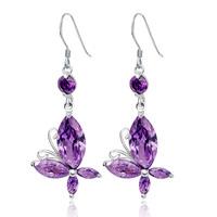 Fashion 925 silver butterfly earrings female earring rack long design gift