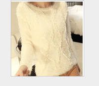 Free shipping 2014 new winter sweater coat female lace stitching round neck mohair sweaters pullover
